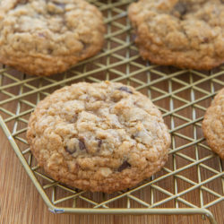 Oatmeal Chocolate Chip Cookies on a Wire Rack