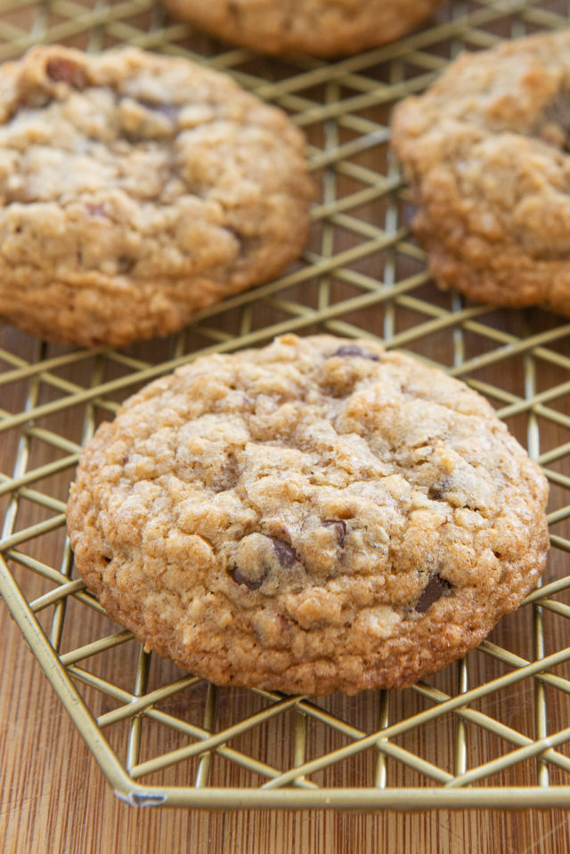 Oatmeal Chocolate Chip Cookies - On a Gold Wire Rack