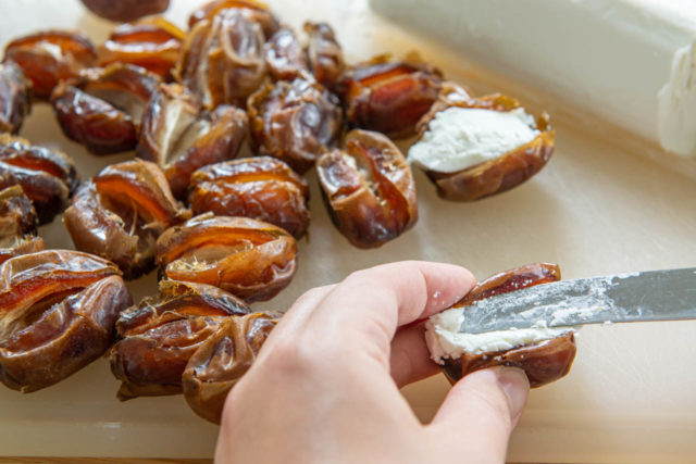 Stuffing Medjool Date with Soft Goat Cheese Using a Knife