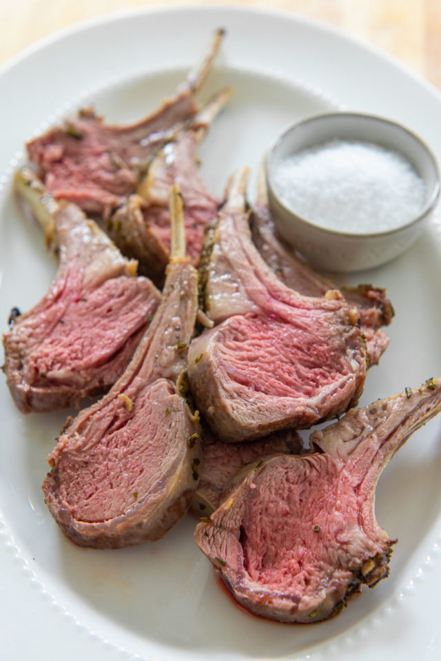 Rack of Lamb Recipe - Plated on a White Dish with Salt