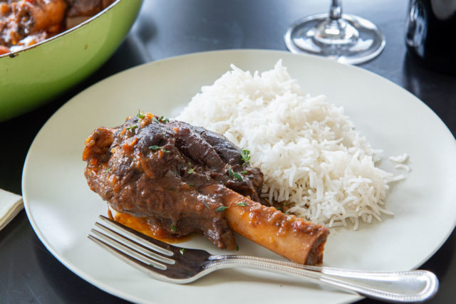 Lamb Shank Recipe - Braised then Plated with White Rice