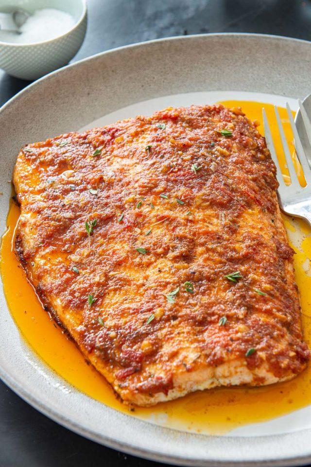 Cajun Salmon - On a Gray Platter with Tomato