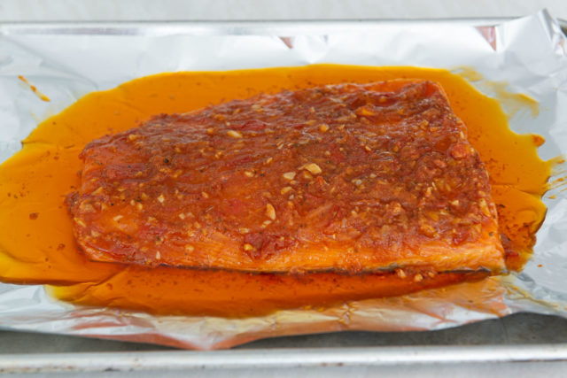 Atlantic Salmon Fillet with Spiced Tomato Garlic Ghee On Top