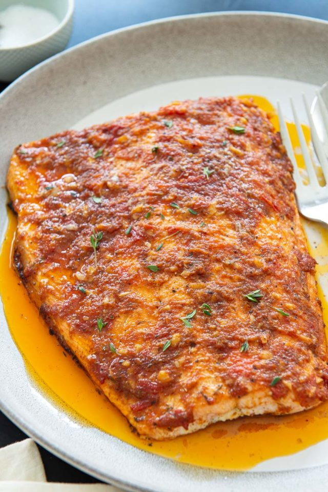 Cajun Seasoning for Salmon with Tomato and Thyme on White and Gray Platter