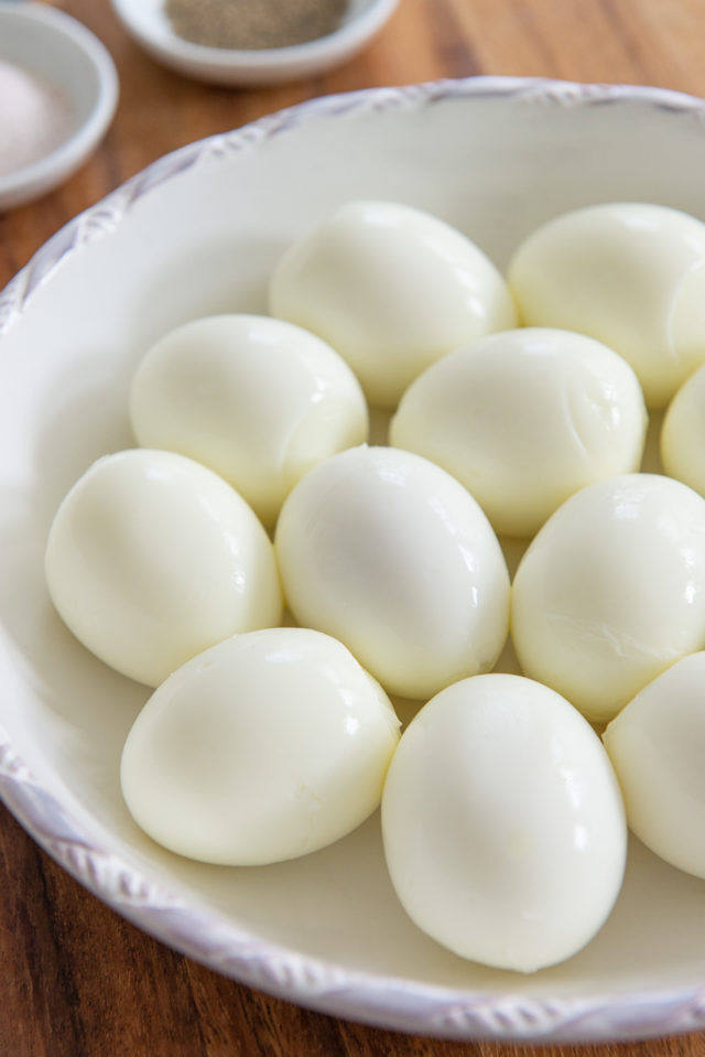 Boiled Eggs - Peeled in a White Ceramic Bowl