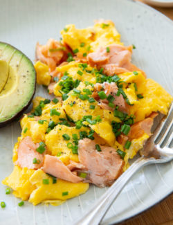Salmon and Eggs - Scrambled Together and Topped with Chives