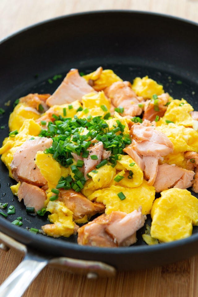 Smoked Salmon Scrambled Eggs - In a Skillet with Fresh Chives On Top