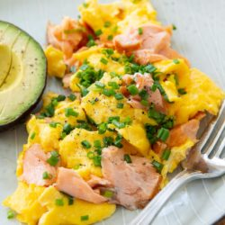 Salmon and Eggs with Chives and Fresh Avocado