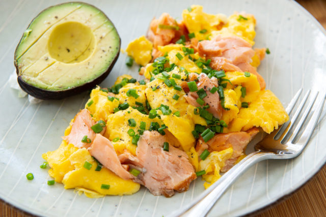 Smoked Salmon and Eggs - Plated with Sliced Avocado and Chives