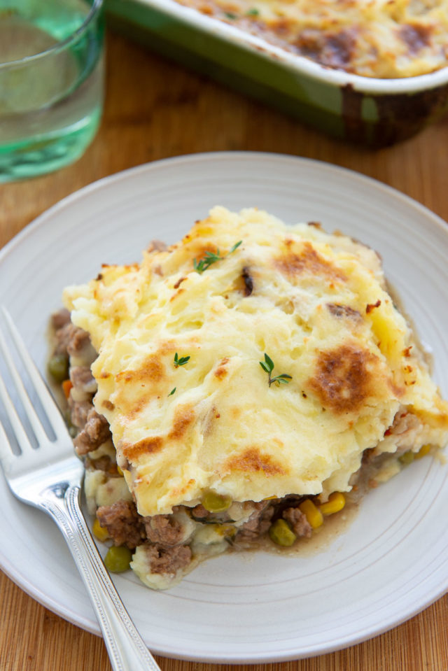 Shepherd's Pie - One Serving Plated on a Gray Plate with a Fork