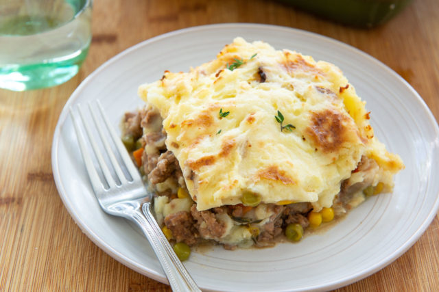 Easy Shepherd's Pie - Single Serving Plated on a Gray Dish with Fork
