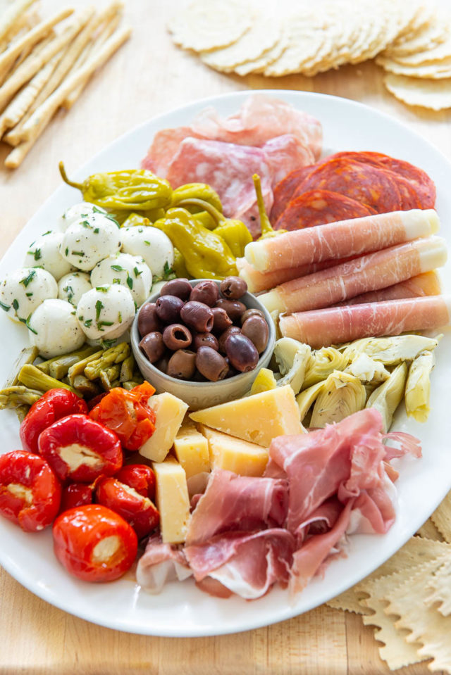 Antipasto Platter - With Stuffed Peppers, Cheeses, and Charcuterie