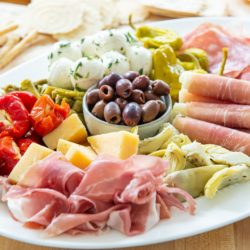 Antipasto Platter with Lecino Olives, Prosciutto, Salami, and Peppers