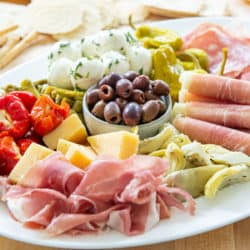Antipasto Platter with Italian Meats, Olives, Cheeses