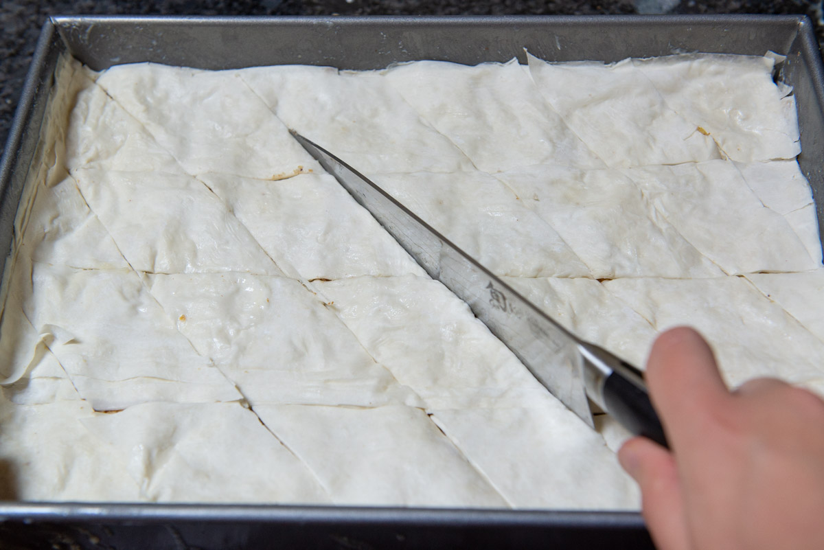 How to Cut Baklava Into Diamond Shape while Unbaked