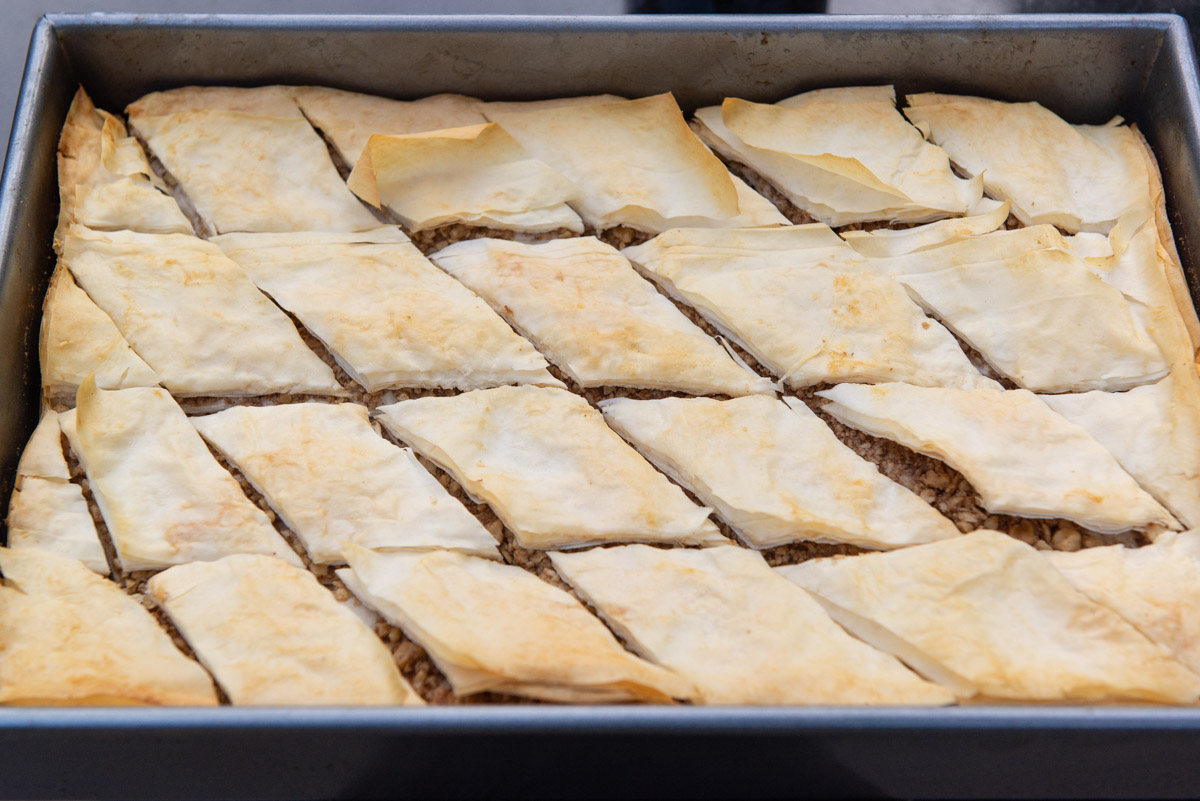 Baklava Dessert Partially Baked and Cut Into Diamond shape