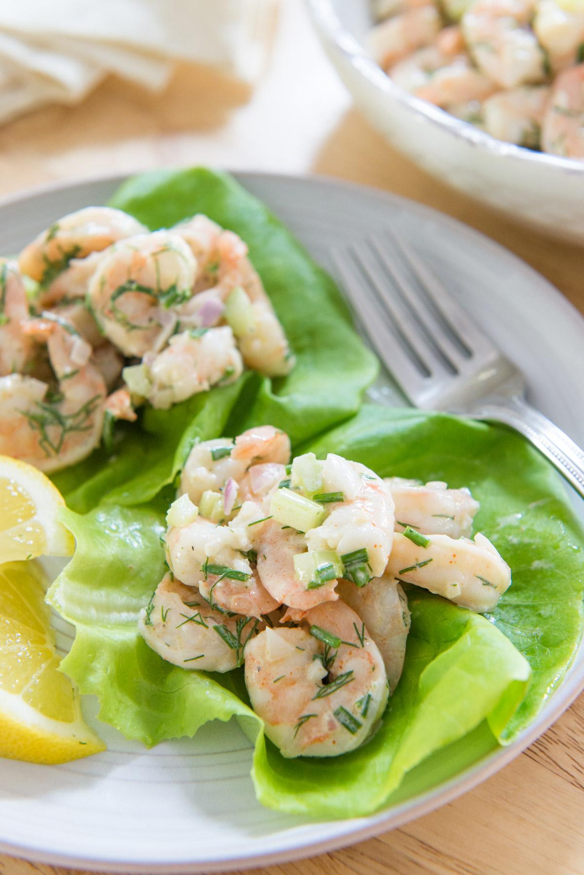 Shrimp Salad Recipe Served in Lettuce Cups with Lemon Slices
