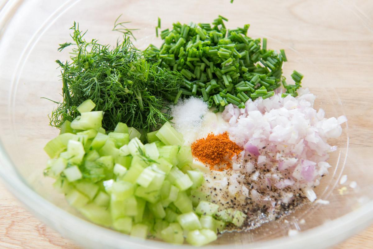 Chopped Chives, Dill, Celery, Shallots, Mayonnaise, and Seasonings