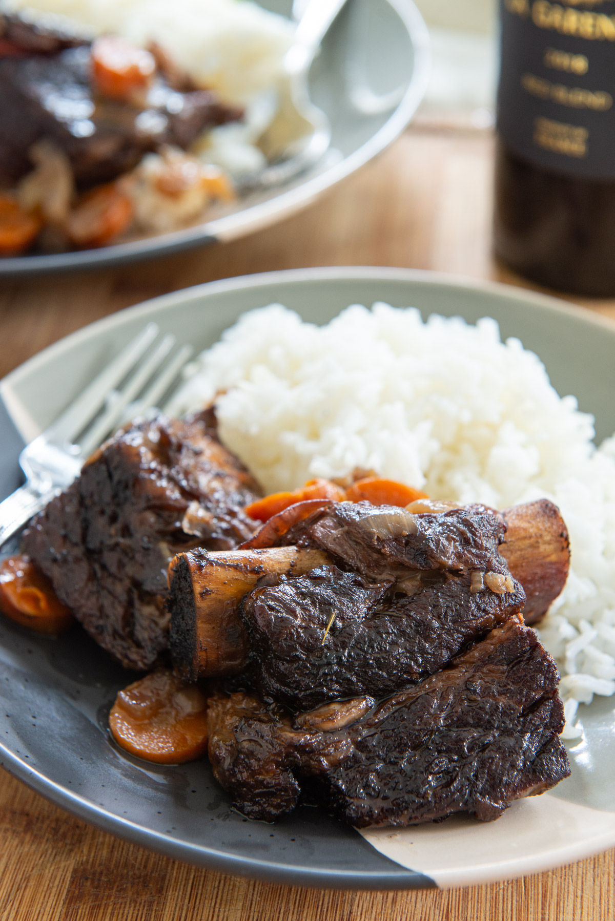 Slow Cooker Short Ribs On a Plate with White Rice
