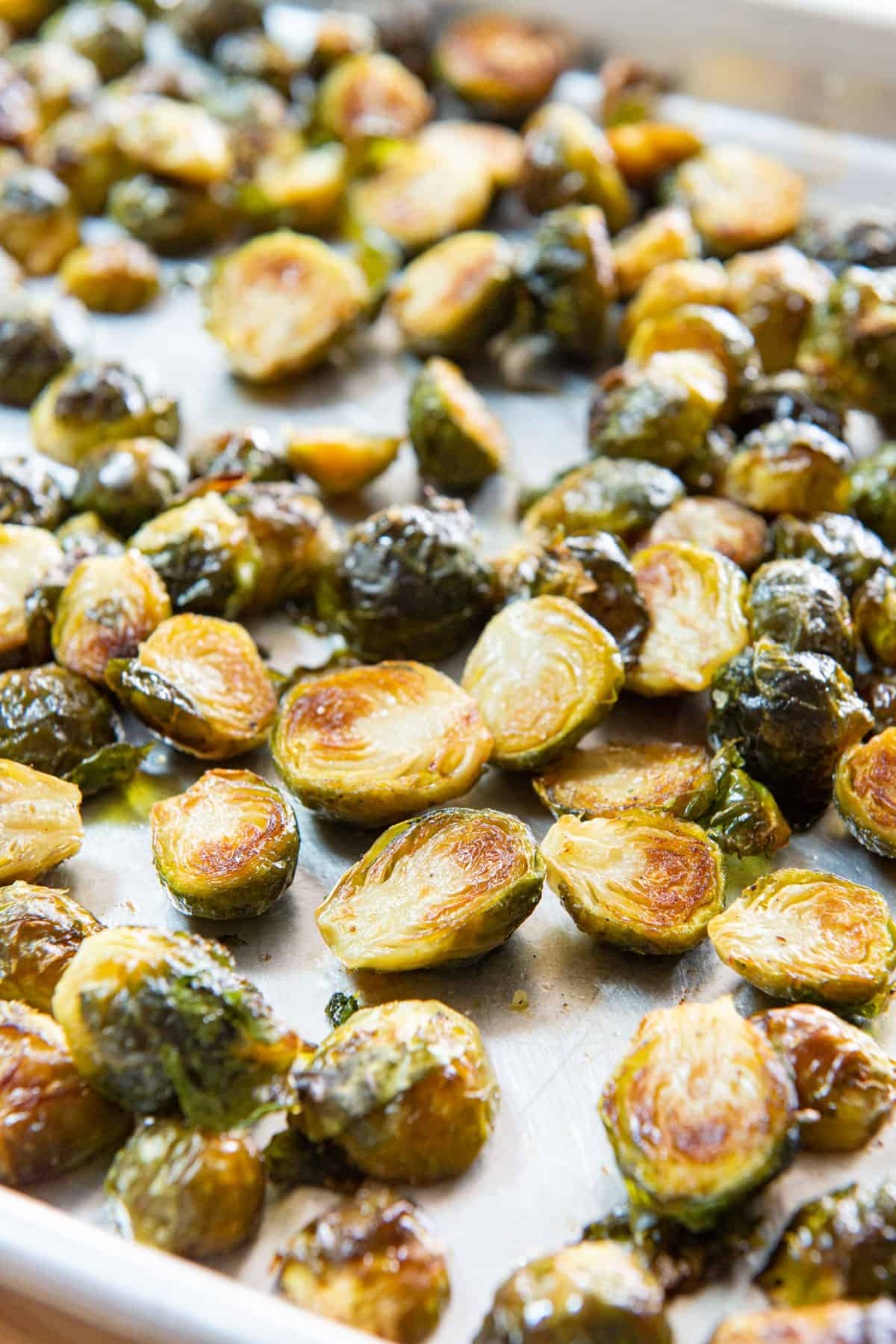 Roasted Brussel Sprouts Recipe Served on a Sheet Pan