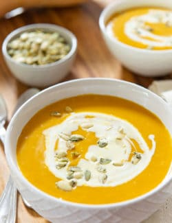 Roasted Butternut Squash Soup in White Bowl