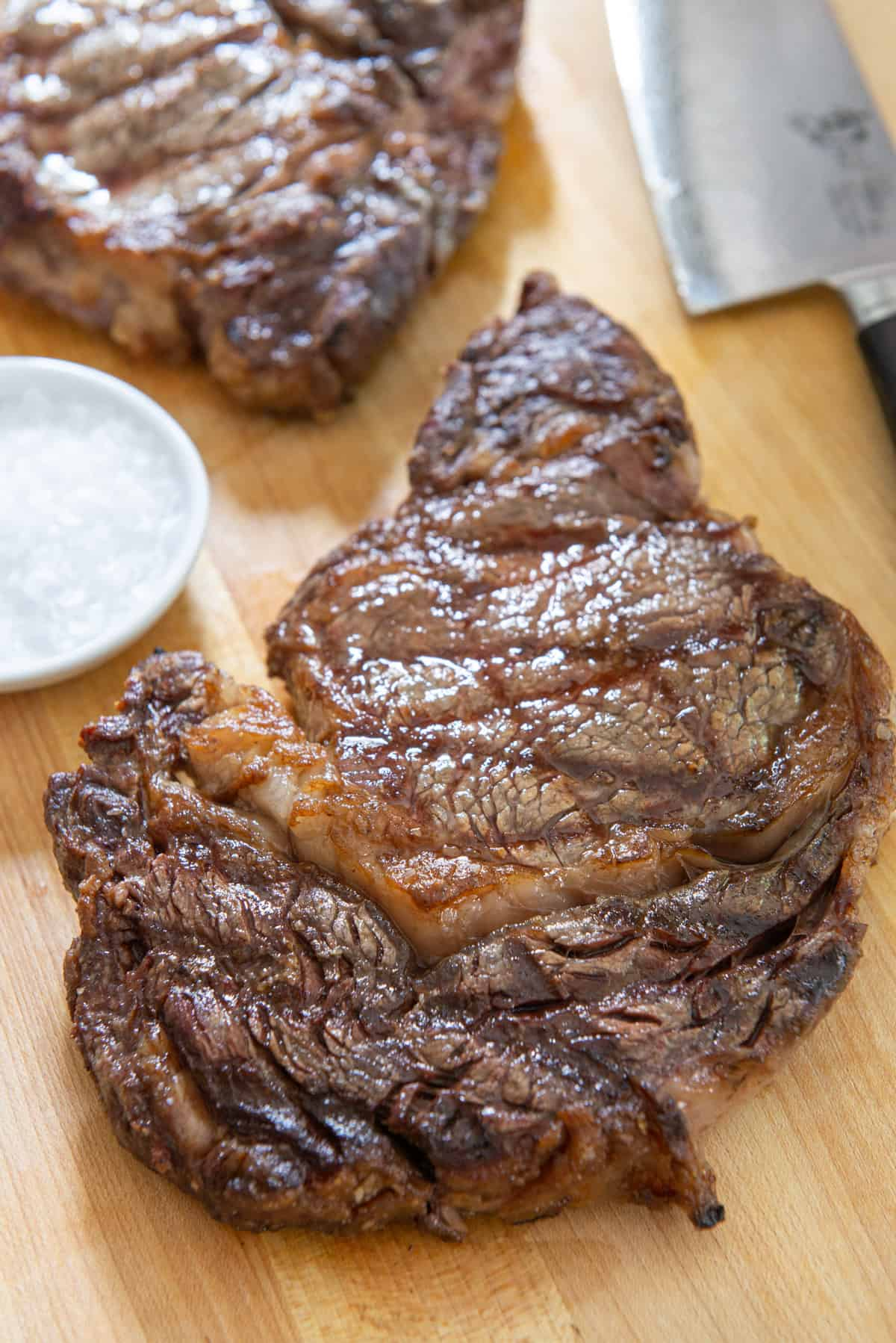 Grilled Ribeye on a Wooden Board