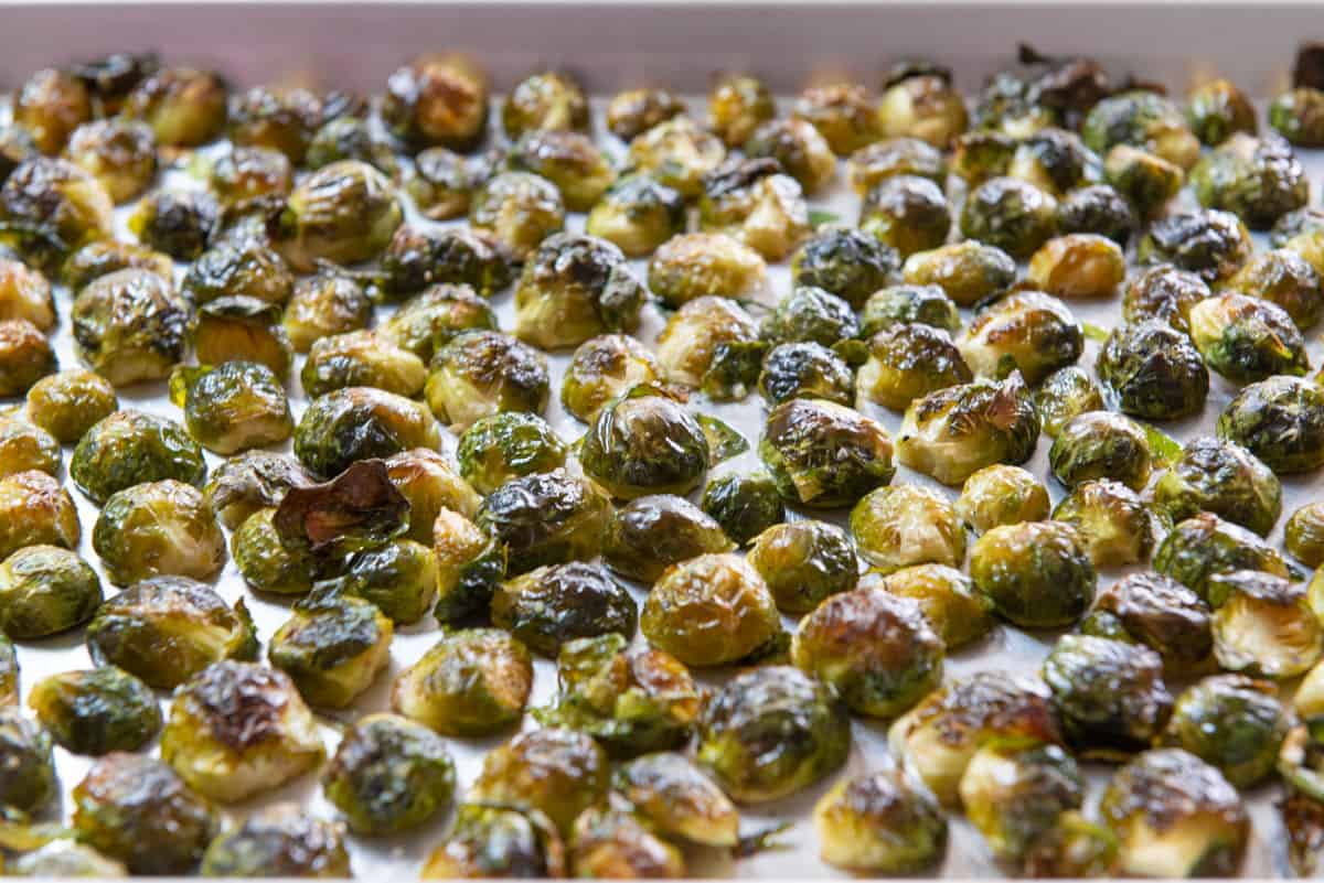 Baked Brussel Sprouts On a Sheet Pan in a Single Layer