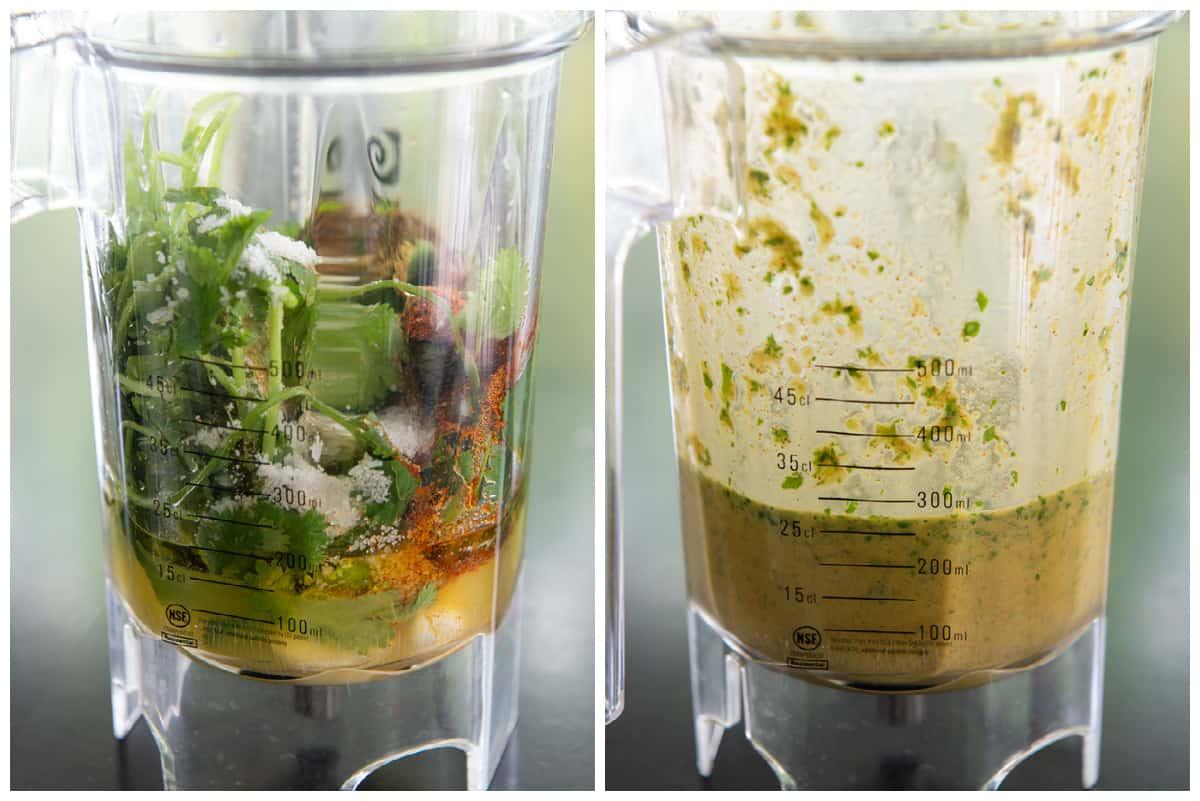 Carne Asada Marinade Collage in Blender Jar