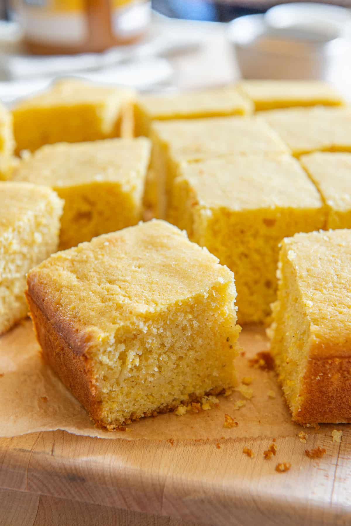Homemade Cornbread Recipe Made with Real Buttermilk and Organic Cornmeal and Cut Into Squares