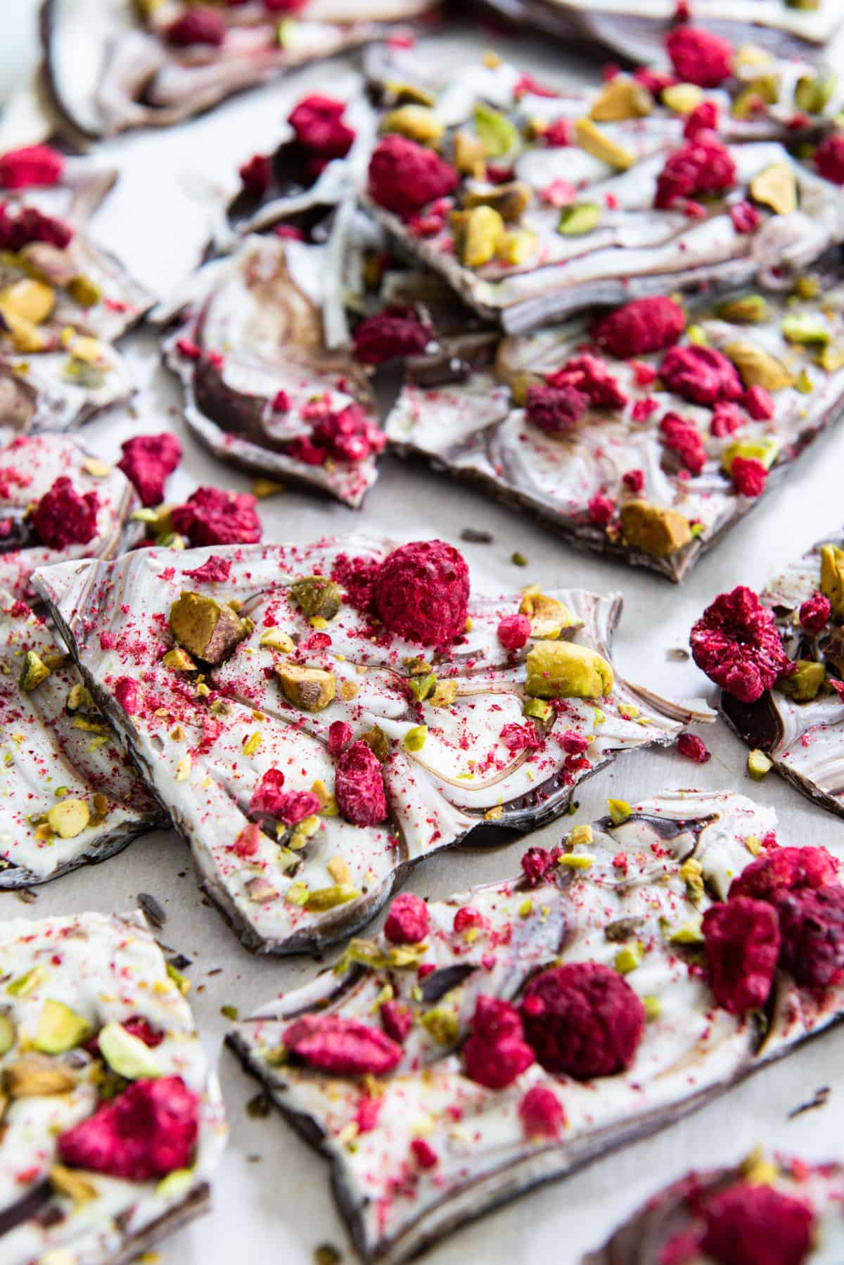 Pieces of Chocolate Bark with Pistachios